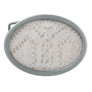 Vintage white lace oval belt buckles