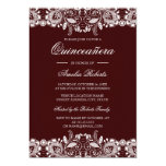 Hand shaped Vintage White Lace Burgundy Quinceanera Invitation