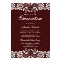 Vintage White Lace Burgundy Quinceanera Invitation