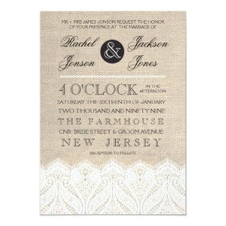 "Vintage White Lace & Burlap Wedding Invitation 5"" X 7"" Invitation Card"