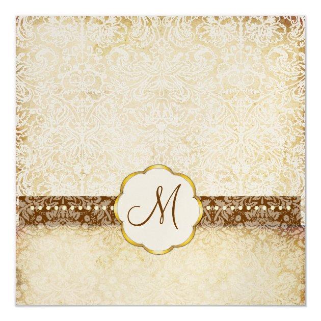 vintage white lace monogram wedding invitations