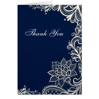vintage white lace  navy blue wedding thank you card