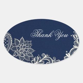 vintage white lace  navy blue wedding thank you oval sticker