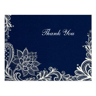 vintage white lace  navy blue wedding thank you postcard
