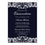 Hand shaped Vintage White Lace Navy Quinceanera Invitation