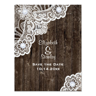 Vintage white lace, old wood wedding Save the Date 4.25x5.5 Paper Invitation Card