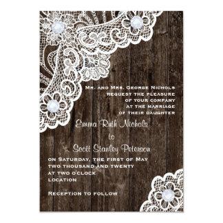 Vintage white lace on old wood wedding invites