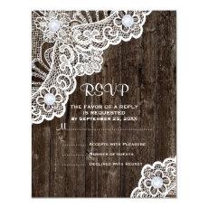 Vintage white lace on old wood wedding RSVP 4.25