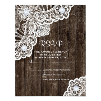 Vintage white lace on old wood wedding RSVP 4.25x5.5 Paper Invitation Card