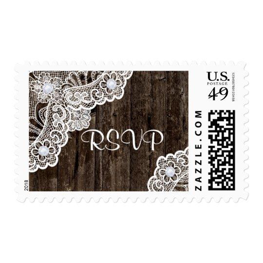 Vintage white lace on wood wedding RSVP Postage