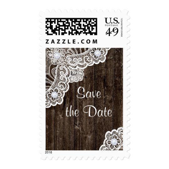 Vintage white lace on wood wedding Save the Date Postage