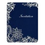 vintage white lace pattern navy blue wedding 4.25x5.5 paper invitation card