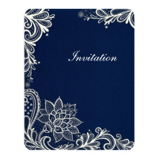 vintage white lace pattern navy blue wedding invite