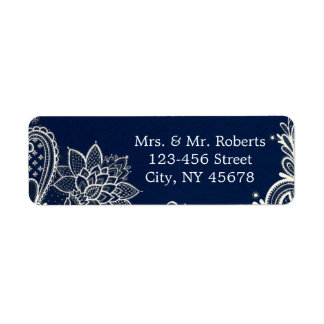 vintage white lace pattern navy blue wedding label