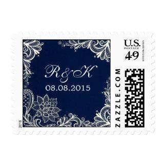 vintage white lace pattern navy blue wedding postage