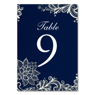 vintage white lace pattern navy blue wedding table cards