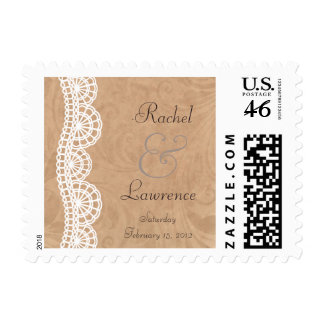Vintage White Lace Personalized Wedding Postage