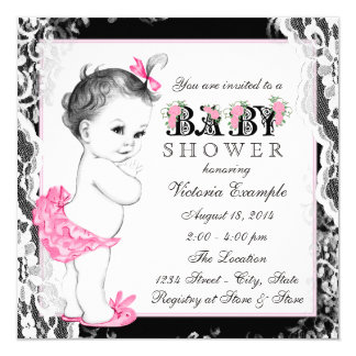 Vintage White Lace Pink and Black Baby Shower 5.25x5.25 Square Paper Invitation Card