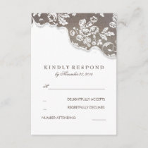 Vintage White Lace Rustic Wedding RSVP
