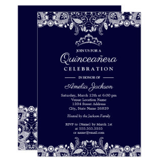 Vintage White Lace Tiara Navy Quinceanera Card