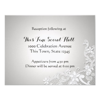 Vintage White Lace Wedding Reception Silver Custom Invitations
