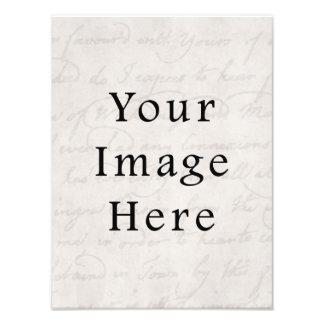 Vintage White Light Gray Script Text Parchment Photo Print