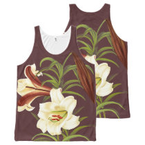 Vintage White Lily Flowers Floral Botanical Art All-Over-Print Tank Top