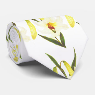 Vintage White lily pattern Neck Tie