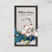 Vintage White Lotus Flower Massage Therapist Business Card