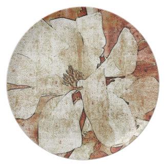 Vintage white magnolia plate