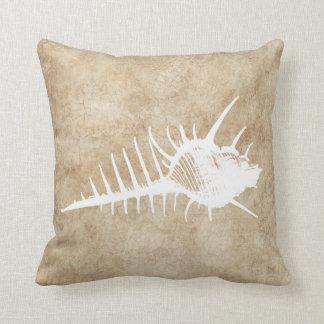 Vintage White Ocean Seahell Beach Throw Pillow