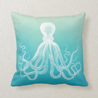 Vintage White Octopus Aqua Blue Ombre Watercolor Throw Pillow