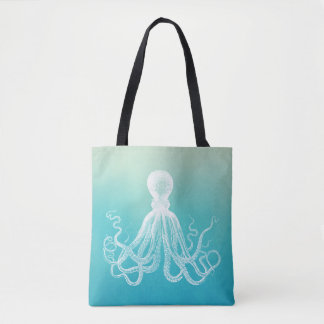 Vintage White Octopus Watercolor Aqua Blue Ombre Tote Bag