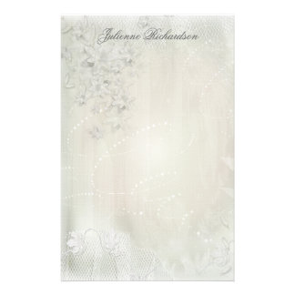 Vintage White on White Floral Grunge Stationery