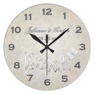 vintage white on white wedding clock