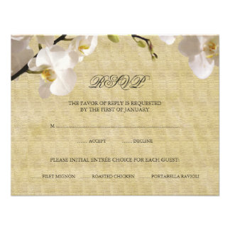 Vintage White Orchid RSVP Response Card Personalized Invite