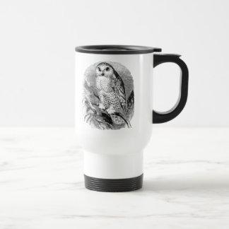 Vintage White Owl Bird Personalized Owls Birds Travel Mug