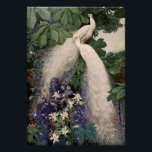 "Vintage White Peacock Poster<br><div class=""desc"">Vintage image of two white peacocks in trees among blue and white flowers.</div>"