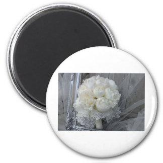 Vintage White Peonies Bridal Bouquet 2 Inch Round Magnet