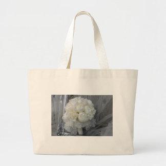 Vintage White Peonies Bridal Bouquet Large Tote Bag
