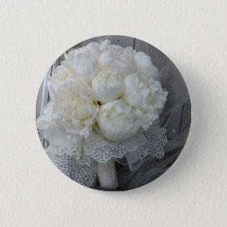 Vintage White Peonies Bridal Bouquet Pinback Button