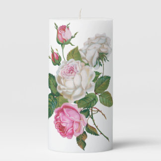 Vintage White Pink Roses Wedding Floral Buds Pillar Candle