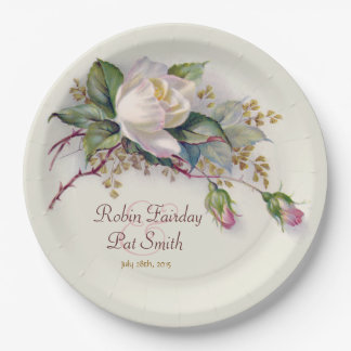 Vintage White & Pink Watercolor Rose Paper Plate 2