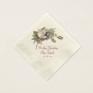 Vintage White & Pink Watercolor Roses Paper Napkin