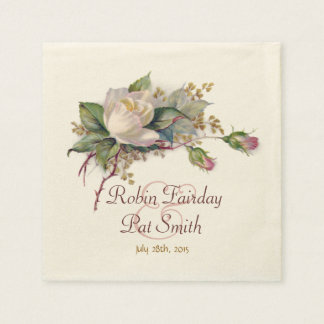 Vintage White & Pink Watercolor Roses Small Napkin