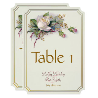 Vintage White & Pink Watercolor Roses Table Card
