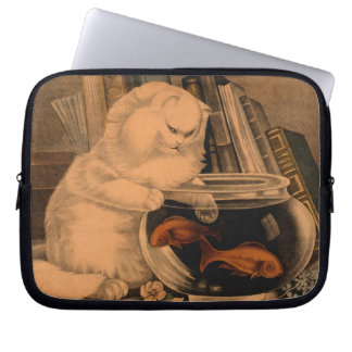 Vintage White Playful Cute Cat Catching Goldfish Laptop Sleeve