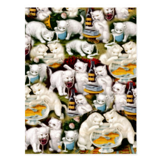 Vintage White Playful Cute Cat & Kitten Collage Postcard