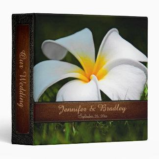 Vintage White Plumeria Frangipani Flowers Wedding Binder