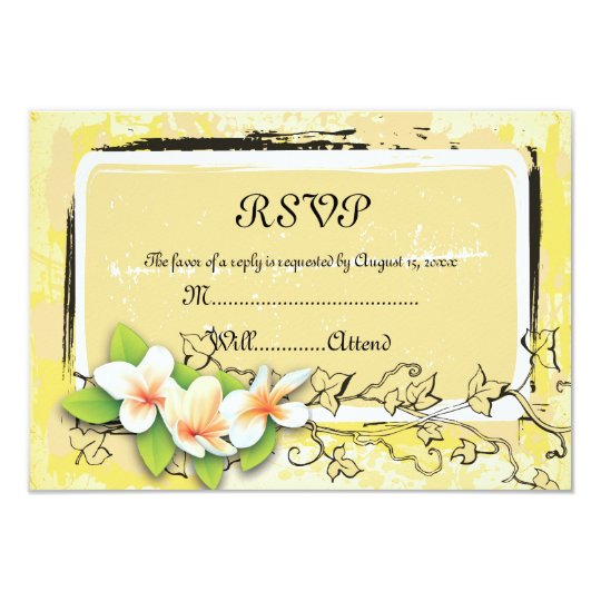 Vintage white plumeria ivy on yellow RSVP card